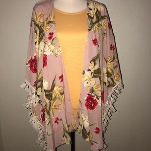 Umgee floral tassel fringe kimono